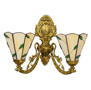 El doble dirige arte de cristal Lámparas de pared creativo Pastoral pueblo de estilo Tiffany retro sala de estar dormitorio de noche Elementos de la luz del pasillo Porche luces