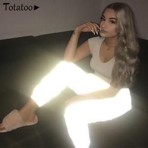 20SS Pantalon taille haute réfléchissant Jogger Femmes d'été gris taille haute Streetwear Pantalons de Striaght Casual Sarouel