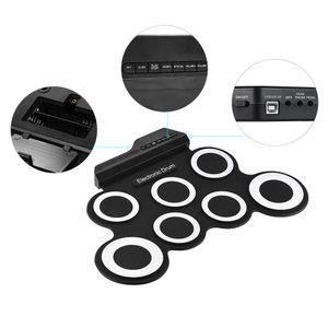 Tragbare elektronische Trommel-Digital USB-7-Pads Rolle Drum Set Silikon Elektrische Drum Kissen Kit mit Drumsticks Fußpedal