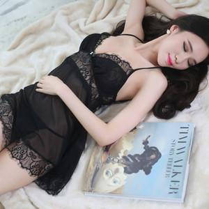 Camisón de la honda de la ropa interior atractiva LKlady pijamas atractivos de pestañas de encaje Conjunto transparente de la tentación de la ropa interior atractiva Y200425
