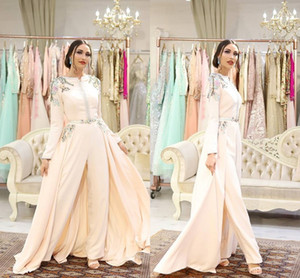 Luxury Embroidery Evening Jumpsuit With Train 2020 Muslim Arabic Dubai Abaya Kaftan Occasion Prom Dress with Pant Suit