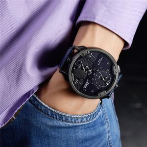 Oulm Two Time Zone Assista Oversized Dial personalizado homens casuais Relógios Leather Strap Male relógio de quartzo