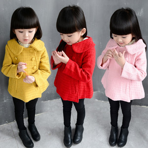 Children's clothing 2020 Autumn woolen girl doll Windbreaker coat collar double-breasted short trench coat