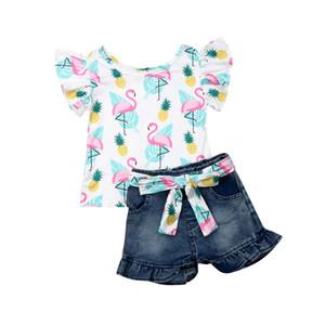 Moda para niños, niñas, princesa, ropa, conjunto 2019 Verano para niños, niñas, mosca, manga, sandía / flamenco, tops impresos, camiseta, pantalones cortos de mezclilla