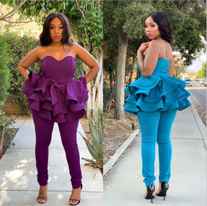 2020 Black Girls Purple Prom Dresses Jumpsuit Plus Size Strapless Tiered Ruffles Evening Gowns Ankle Length Party Formal Dress