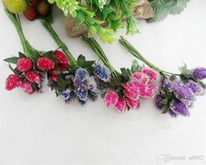 Simulation Fraise Fruit Artificielle Mousse Perle Mulberry DIY Manuel Faux Fleur Avec Feuille De Mariage Décoration Rouge Pourpre 17 5la C1