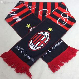 Atacado-Novo estilo AC Milan Scarf Esporte Emblema Vermelho-Preto AC Milan lenço Futebol Clube Lenços frete grátis