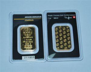 1 oncia Svizzera Argor-Heraeus Gold Bar oro 24 carati placcato di alta qualità non magnetico Indipendenti Numero di serie Affari Collezione regali