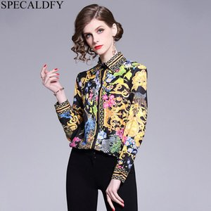 IN STOCK2020 Spring Long Sleeve Shirt Women Designer Runway Tops Print Vintage Blouses Ladies Office Shirts Blusas Mujer De Moda