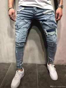 Mens New Skinny Jeans Casual Slim Biker Denim Hole Hip Hop Blue Ripped Pants Washed Jeans