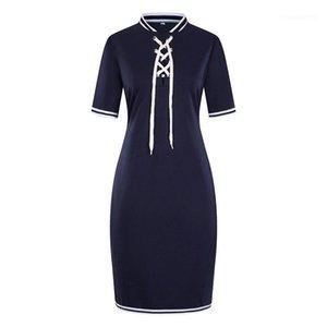 Beiläufige Kleid Stehkragen mit Band-Bleistift-Kleid-Modedesigner-Bahnenkleid 6XL Frauen Sommer