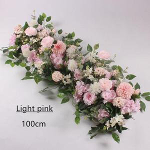 fiore Row 50/100 centimetri Wedding Disposizione della parete del fiore della seta artificiale della Rosa Peonie Row Wedding Decor Ferro Arch fondale