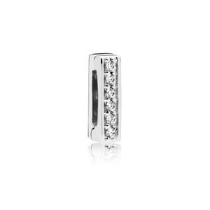 Auténticos 925 clips del encanto del clip de plata Pandora de las gotas reflexión intemporal de la chispa adapta joyería de la pulsera de Pandora Europea
