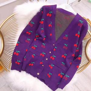 Cardigans Designer Lettre Cerise Imprimé Chandails à Manches Longues Pour Femmes 2019 Violet