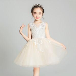Champagne Lace Comunhão Vestidos Crianças Flower Girl Applique Dresss Curto Zipper Wedding Pageant malha sem mangas vestido de baile