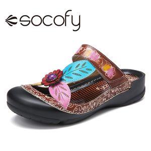SOCOFY pelle retrò Floral Sandals Hook scorrimento della cinghia Loop Muli Sandali piatti Estate Scarpe Botas Mujer 2020