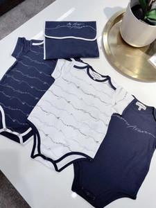 3 PC / porción mameluco del verano 2020 al por mayor dropshipping ropa de niño infantil del bebé imprimen trajes de algodón sin mangas del mameluco