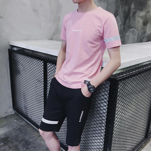 2020 Men's Sports Suit New Short Sleeve T-Shirt Shorts Set Korean Slim Two-piece Set Summer Tide Asian Sizes Available in 5 Colors New