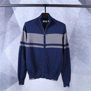 Casual Males Clothing Crocodile Brand Men Designer Sweaters Fashion Warm Stripe Panelled Mens Zipper Cardigan Sweaters