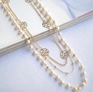 2018 Neuheiten Hot Fashion Multilayer Halskette Rose Kupfer Perlen Kette Lange Aussage Perlen Strang Halsketten Frauen Schmuck