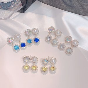 MWsonya coréenne Nouveau bling coloré strass goutte pour les femmes Earings élégant Cristal Parti Pendientes Bijoux