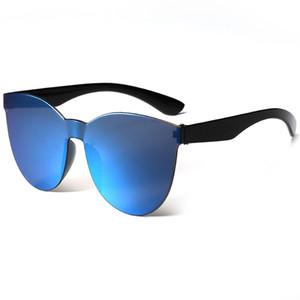 Lussuoso nuovo modo delle donne degli occhiali da sole Rimless Telaio Tint liberi dell'obiettivo colorato occhiali da sole dell'occhio di gatto occhiali da sole personalizzati