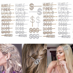 Diamond Hair Clips Crystal Shiny Hair Pins Words Letters Rhinestones Clip 12 Constellations Women Girls Party hair accessories HHA1393