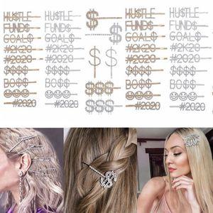 Diamant-Haar-Clips Kristall Glänzendes Haar Pins Wörter Letters Strass Clip 12 Constellations Frauen-Mädchen-Partei-Haar-Accessoires HHA1393