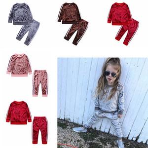 خريف وشتاء الاطفال المخملية مجموعة ملابس الطفل بنات مصمم عارضة الملابس Outsuits ثخن بلايز سروال اثنين من قطعة HHA696