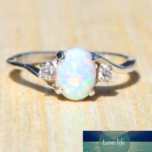 Joyería de moda nuevo diseño blanco ópalo de fuego del anillo de la moda de las mujeres del color de plata circón anillos