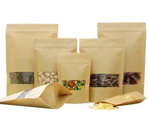 HOT kraft vedação saco de papel com folha de alumínio Forro pé bolsa de embalagem favor sacos de comida de armazenamento sacos por atacado para o chá da porca