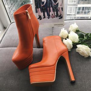 Bonjean Женская Мода Натуральная Кожа Сапоги Круглый Носок Платформы Партия Свадебные Туфли Женщина Блок Высокие Каблуки Ботильоны