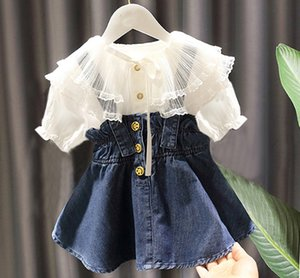 Fashion girls Summer outfits children lace falbala collar short sleeve shirt+ruffle suspender denim Skirt 2pcs kids Clothing sets C6394