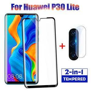 2 em 1 protetor de tela completa de proteção de vidro Para Huawei P30 Lite Pro Voltar lente da câmera de filme de vidro temperado Na Huawei P30 caso Lite