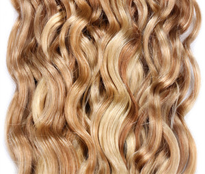 Top Quality Peruvian Water Wave Hair Bundles Human Hair Bundles No Remy Human Hair Extensions 3 PC Lot Piano 27 613, Free DHL