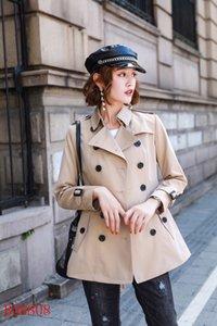 المرأة معاطف قصيرة ضئيلة معطف مزدوجة الصدر Gambardine القطن سترة كاكية اللون الأحمر النمط البريطاني S-XXL سترة المرأة AA1HGDF