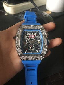 Nouvel Arrivage Sport Montres Homme Montres Top qualité Hommes mécanique Wristwatch Diamonds Skeleton visage homme Montre Lunette caoutchouc Bracelet 020-2