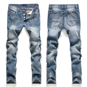 Mens Jeans Hole Slim Fit Straight Ancient Style New All Season Button Zipped Euroean Wind Biker Pants Street