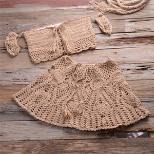 NAIDEY 2021 Women Knitted Bikini Off Up Beach Swimwear Shoulder Crochet Cover Beachwear Ups Cover Swimsuit Vestidos Sexy Biquini Vaskv