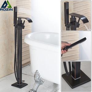 Водопад ванна душ кран черный бронзовый напольный смеситель для ванны Смеситель с ручной душ отдельно стоящий Clawfoot ванна раковина кран