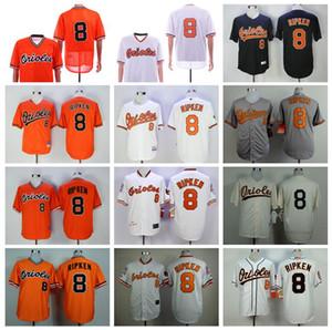 Erkekler 1954 1970 1982 1989 2001 Vintage 8 Cal Ripken Jr Beyzbol Jersey Flexbase Tabanı Takımı Siyah Turuncu Beyaz Gri Pullover Soğuk emekli