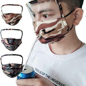 2 in1 Tarnung Gesichtsmaske mit Transparent-Augen-Schild waschbar wiederverwendbare Baumwollgesichtsmasken-Reißverschluss-Loch Getränk Mund Gesichtsmasken RRA3265