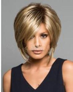 mode de cheveux synthétiques perruques femmes frange côté perruque courte dame perruques or Fluffy courte FZP180 cheveux raides