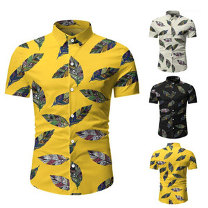 Casual manga de camiseta de verano de la solapa de cuello delgado apto de la camisa Hombre Ropa de diseño para hombre de la flora corto