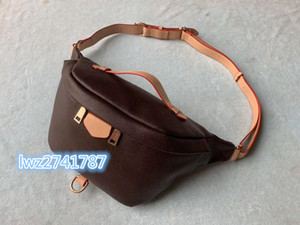 newest fannypack men purse bag waist bag classic pattern real leather high quality fashion man purse belt bag