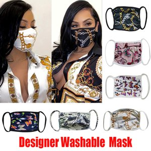 Designer Face Mask Washable Luxury Anti Dust Face Cover Respirator Dustproof Riding Sports Anti-bacterial Reusable Mouth Ice Silk Masks DHL
