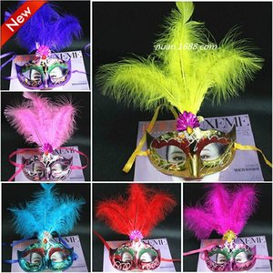 On Sale Feather Masks Half Face Party venetian masquerade mask gold plating fluff feather mask dance party mask free shipping mix color