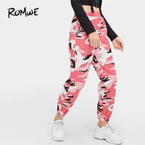 Romwe Camo Baskı Elastik Bel Pantolon 2019 İlkbahar Sonbahar Mektup Pantolon Kadın Konik Havuç Kamuflaj Orta Bel Pantolon Y19070101