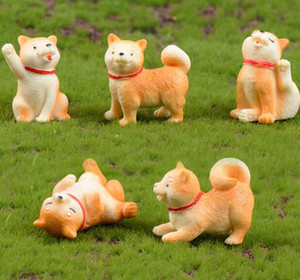 Hayvan Mikro-peyzaj Rakamlar Dekorasyon Küçük Sarı Köpek Minyatür Akita Köpek Oyuncak Bahçe Etli mobilyalarla İç Süslemeleri GGA2012