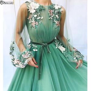 환상 긴 소매 얇은 얇은 얇은 민트 그린 댄스 파티 드레스 2019 Applique Flowers Vestidos de Festa Longo 정장 이브닝 드레스